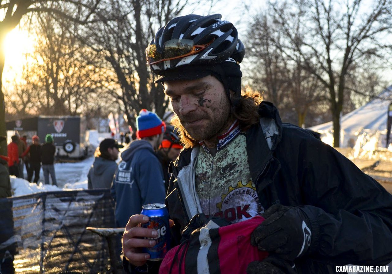 Aaron Bradford cooling down with a Canadian beer at the 2013 Singlespeed Cyclocross National Championships. © Cyclocross Magazine