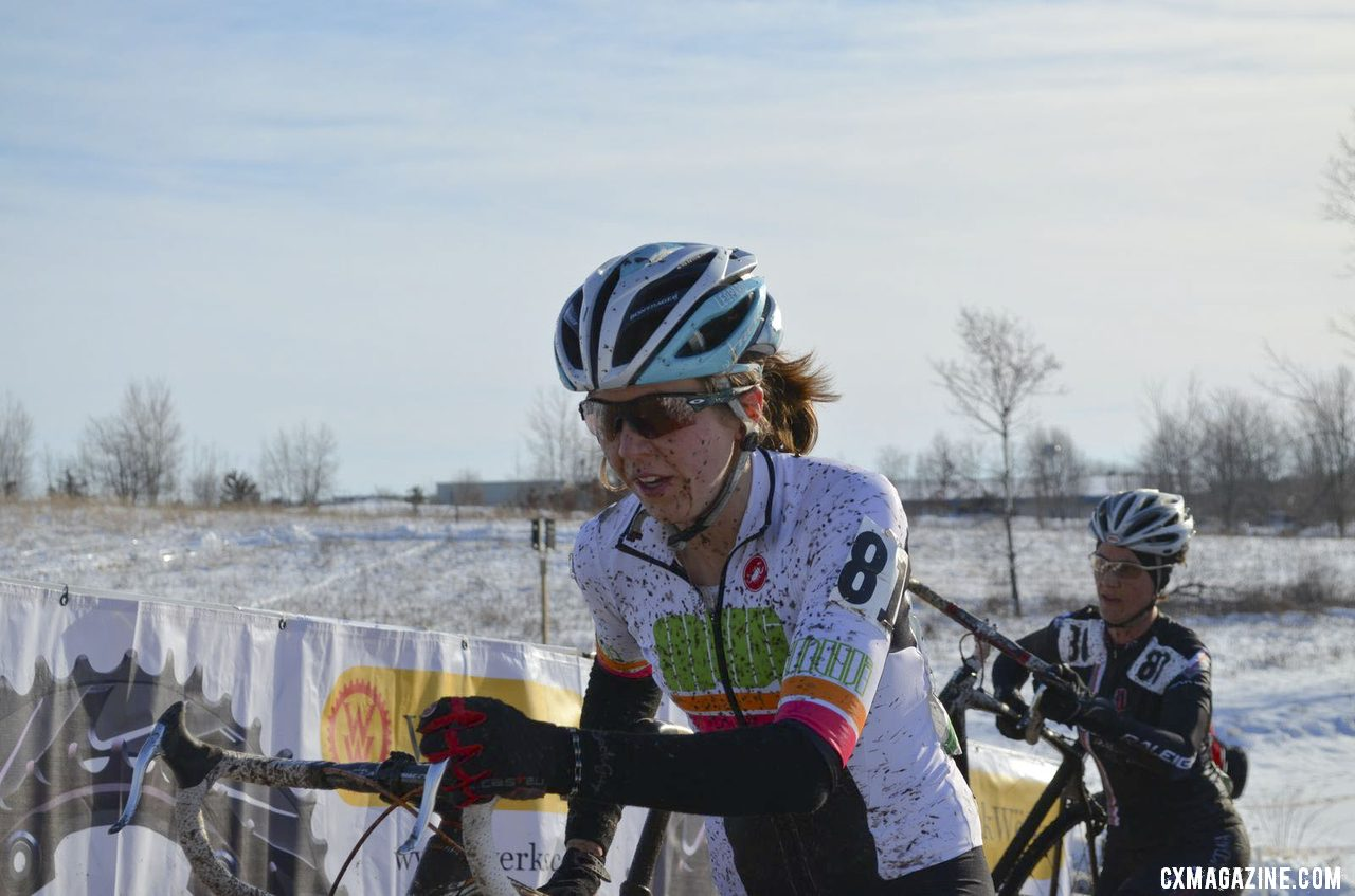 Madison local Mber Markey finished third in the Singlespeed Women\'s race. © Cyclocross Magazine
