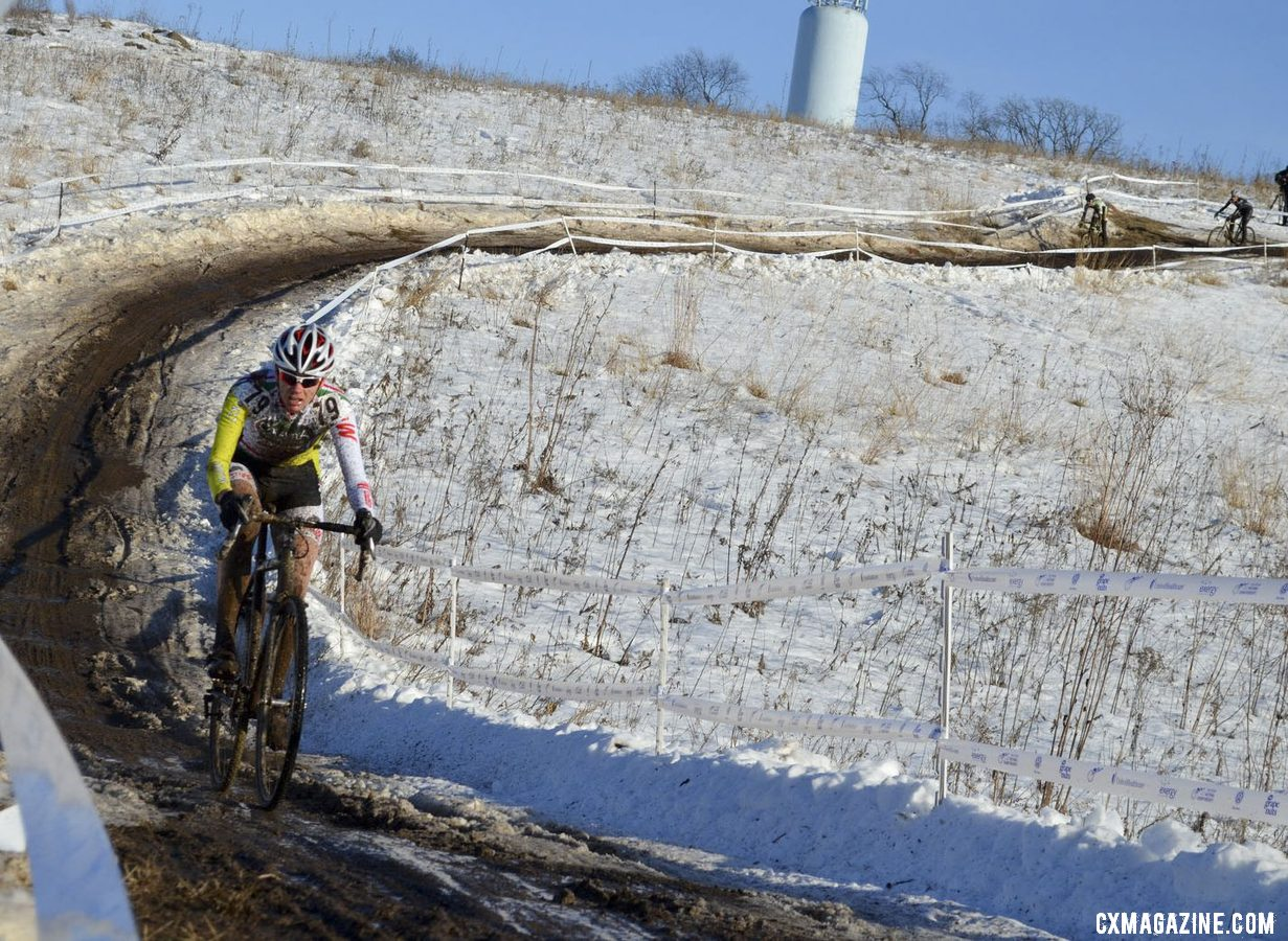 Katrina Dowidchuk on her way to fourth in the Singlespeed Women\'s championship race. © Cyclocross Magazine