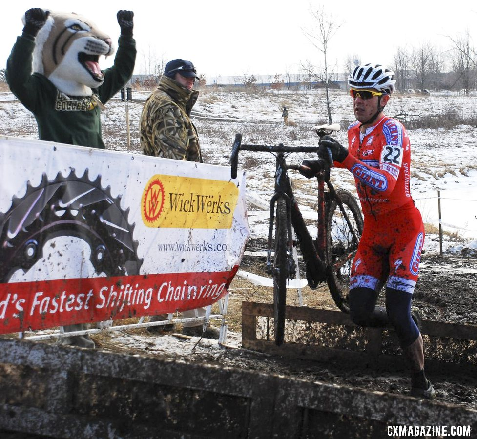 Yannick Eckmann with a big first lap lead in the U23 Men\'s race.  © Cyclocross Magazine