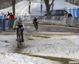 The battle for second - Dowidchuck and Sone. Masters Women 40-44, 2013 National Championships. © Cyclocross Magazine