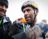 Cyclocross Magazine's Robbie Carver speaks with a happy Tim Johnson © Meg McMahon
