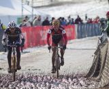 Pete Webber and the Spanish contender battle at 2013 Cyclocross World Championship Masters Men 40-44. © Cyclocross Magazine