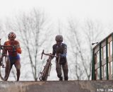 Zach McDonald and Michael van der Heijden battled for a top ten position. © Cyclocross Magazine