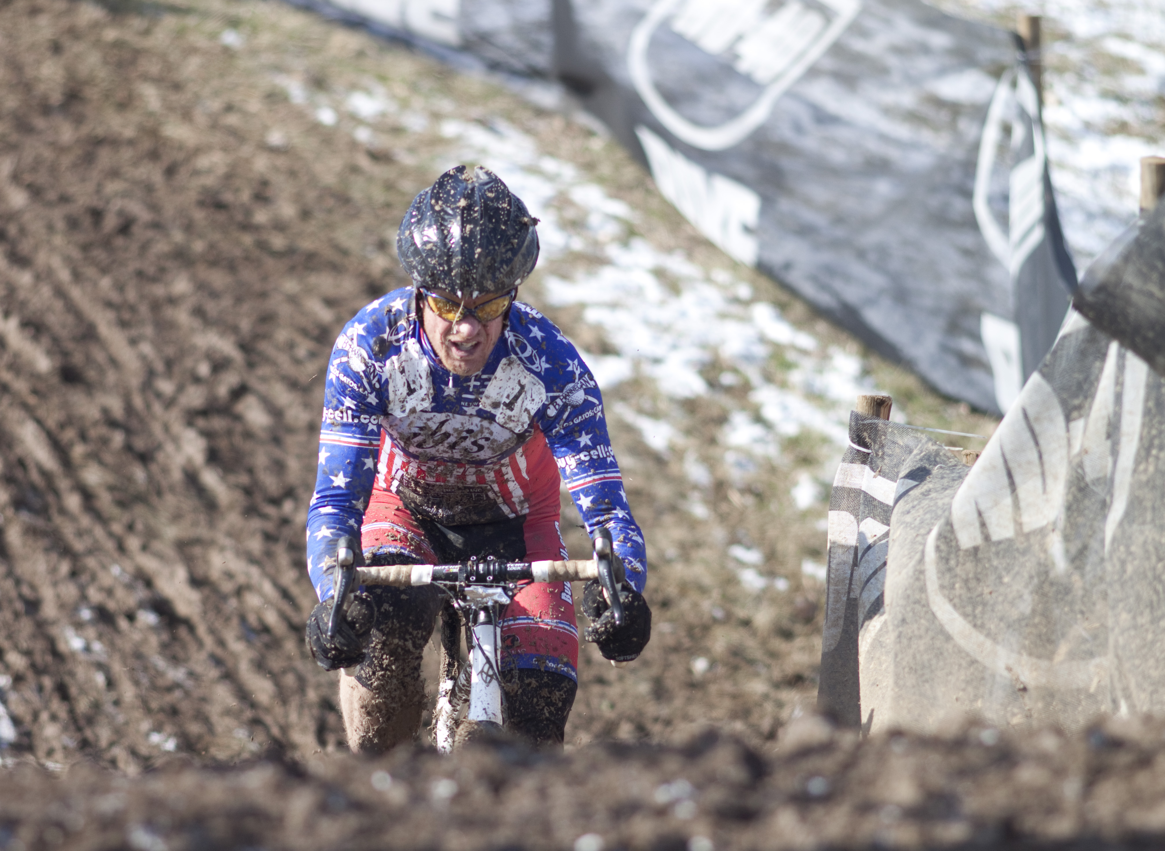 National Champion Don Myrah powers up the hill at the 2013 Cyclocross World Championships, Masters 45-49. © Cyclocross Magazine