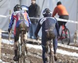 Myrah wasn't alone and the chase was on at 2013 Cyclocross World Championships, Masters 45-49. © Cyclocross Magazine