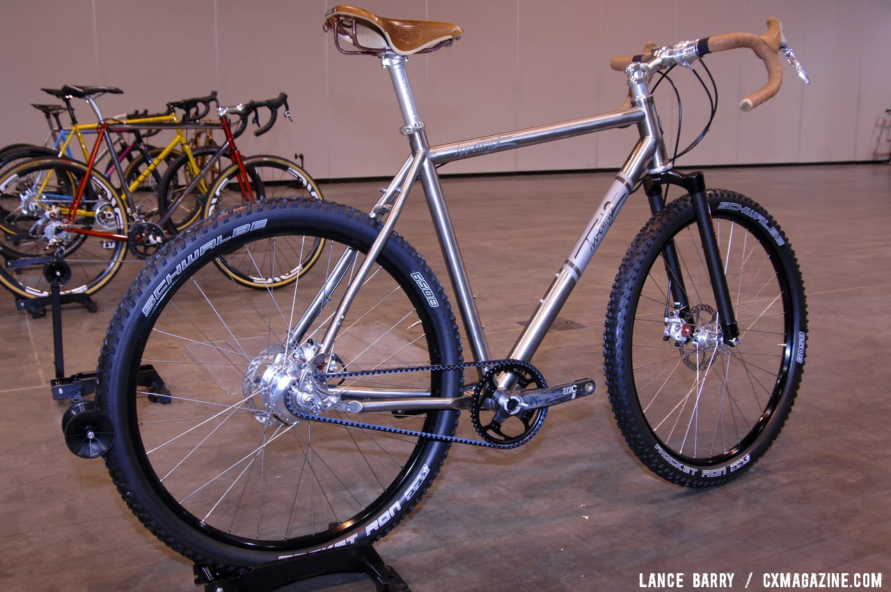 Could this monster be the 2013 Best Cyclocross bike at NAHBS 2013? Twenty2 Cycles\' titanium 650b monster cross bike. © Lance Barry / Cyclocross Magazine