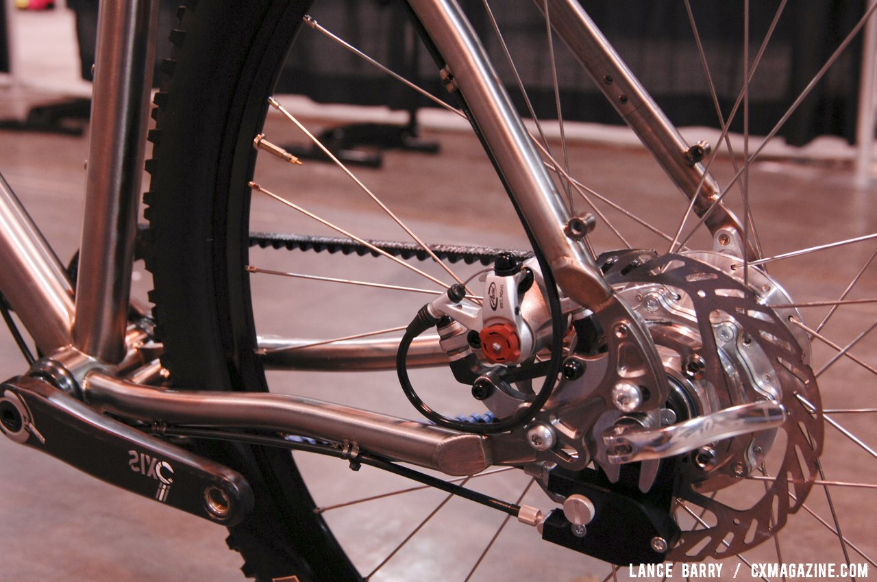 Avid BB7 mechnical disc brakes attached to sliding dropouts allow for belt tensioning on the Twenty2 Cycles\' titanium 650b belt drive, internally geared monster cross bike. © Lance Barry / Cyclocross Magazine