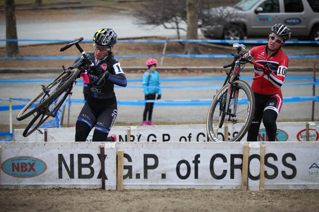 Kemmerer and White charging through the barriers. © Meg McMahon