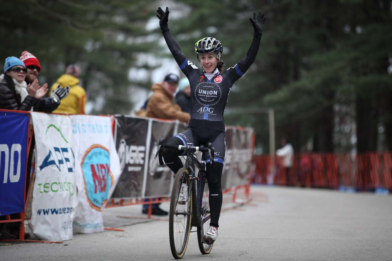 Arley Kemmerer, thrilled with the win today. Emma White claimed second to take the Shimano NEPCX Series win in the U23 category, and Laura Van Gilder finished third to win the overall Elite Women\'s Shimano NEPCX Series. © Meg McMahon