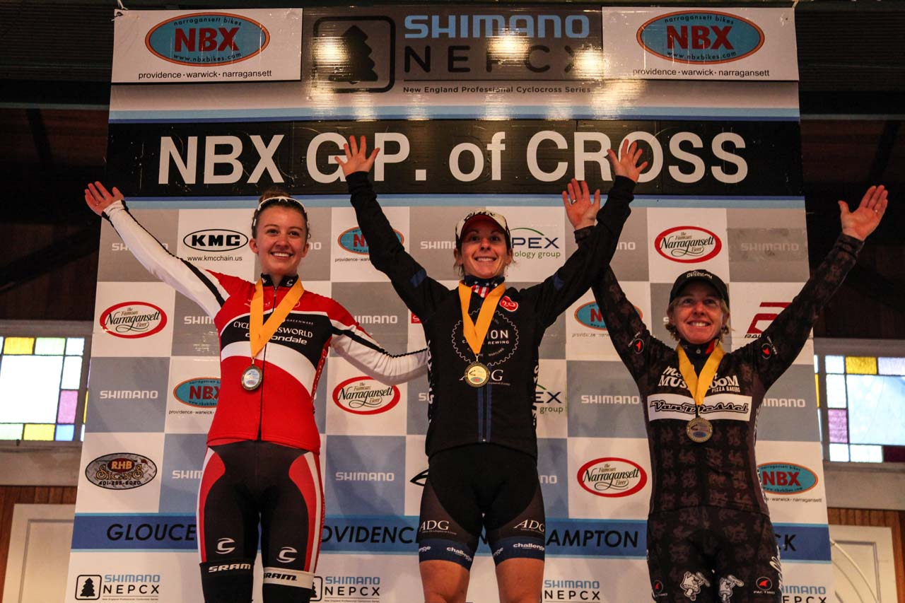 The Elite Women\'s podium (L-R): Emma White (Cyclocrossworld.com), 2nd; Arley Kemmerer (C3 Twenty20), 1st; Laura Van Gilder (Van Dessel p/b Mellow Mushroom), 3rd. © Meg McMahon