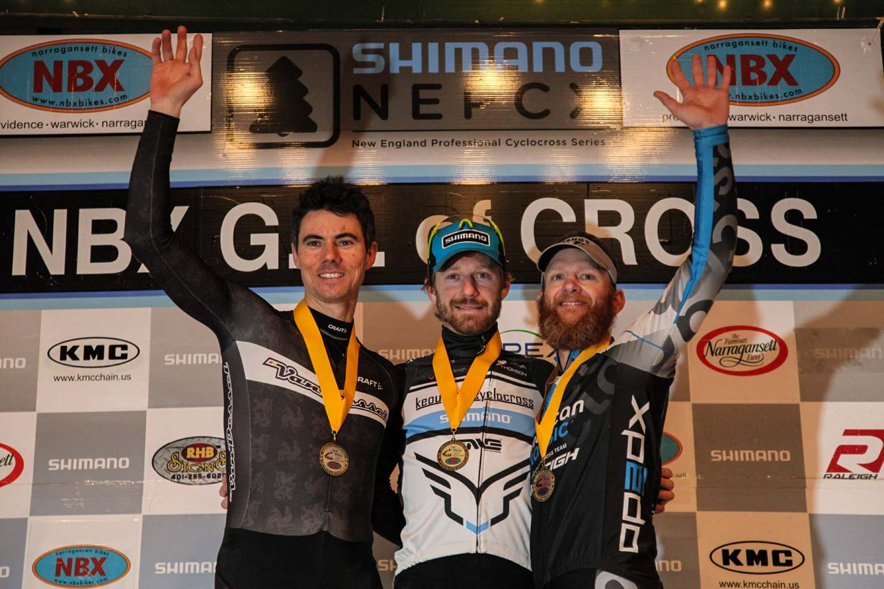 The Elite Men\'s podium (L-R): Mike Garrigan (Van Dessel/Shimano), 2nd; Shawn Milne (Keough Cyclocross), 1st; Robert Marion (American Classic Pro CX Team), 3rd. © Meg McMahon
