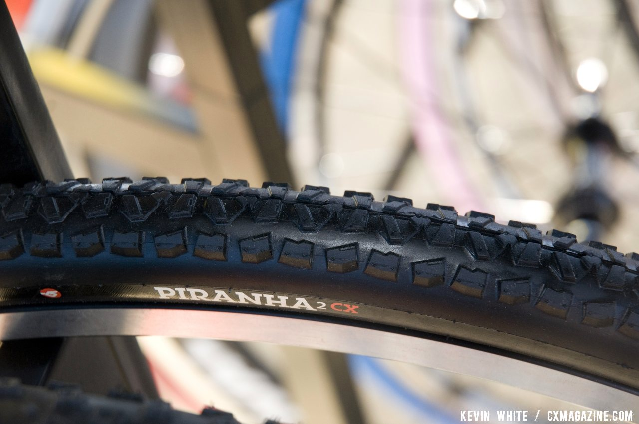 Hutchinson\'s dry terrain race tire, the Piranah2 CX wil shrink to 32mm in width in both clincler and tubular versions with a 34mm wire bead version also avaliable. © Kevin White