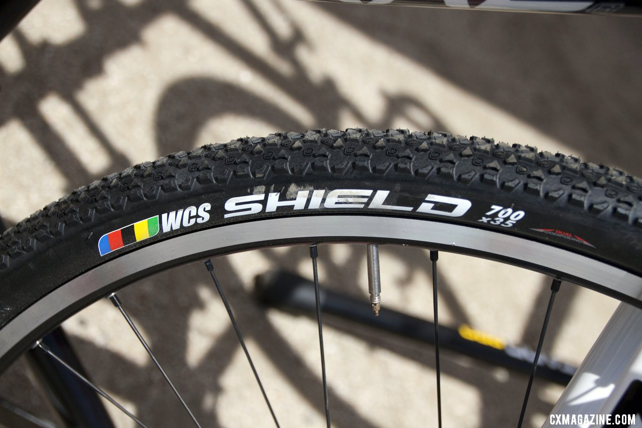 The new Ritchey WCS Shield 700x35 tire has lots of short knobs for hard pack surfaces. ©Cyclocross Magazine