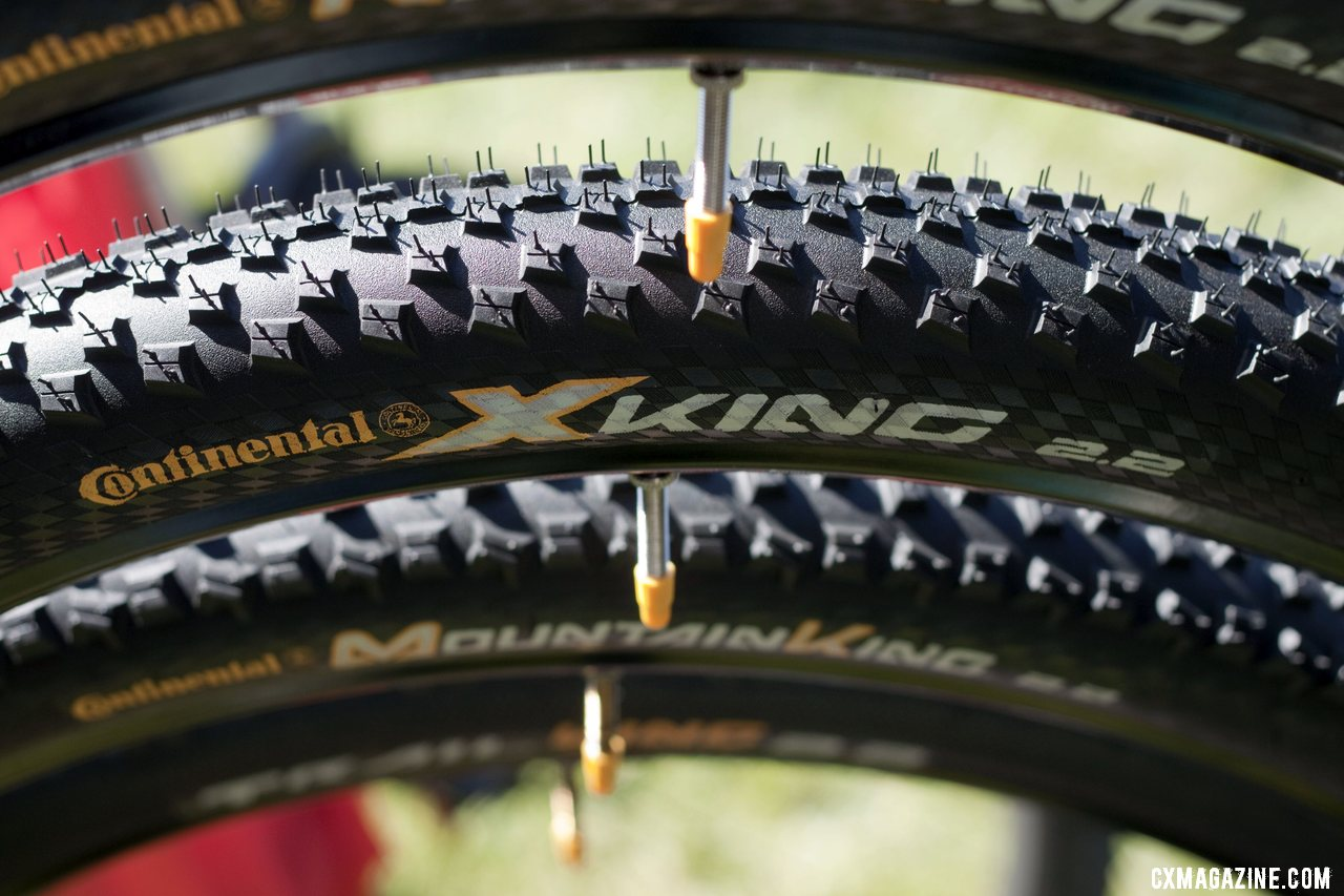 Continental said they\'re finally going to have full production of their long-awaited cyclocross tubulars, and they will featuring a pattern very similar to this XKing mountain bike tire.