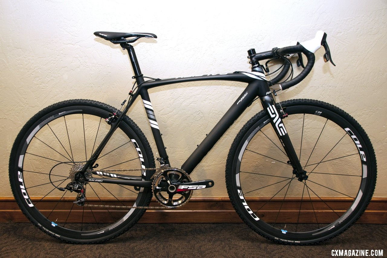 The $5000 carbon Raleigh 2013 RXC Pro cross Bike with SRAM Red and Rival. © Cyclocross Magazine