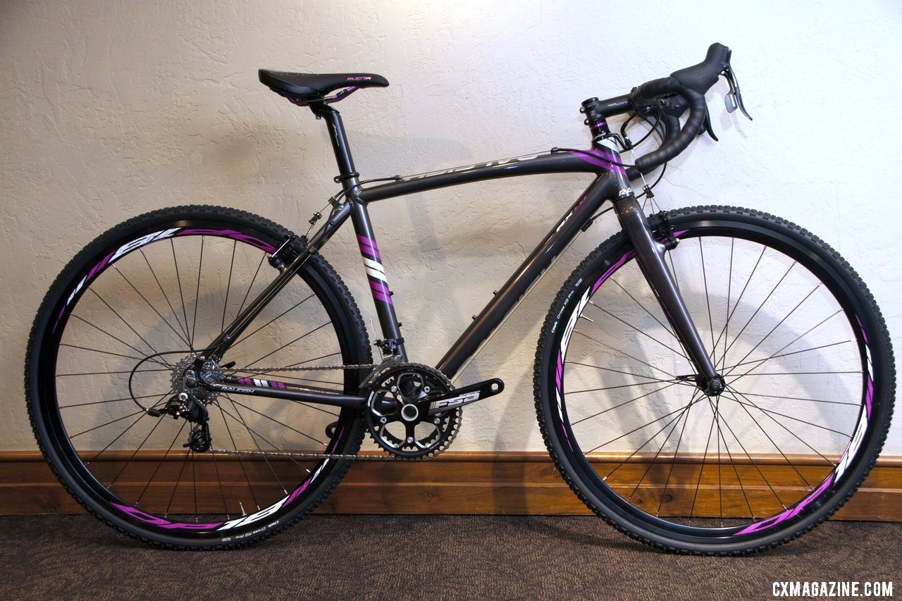 The $1550 Raleigh 2013 Women\'s RX 1.0 Cross Bike has plenty of feminine accents, but also a lower BB drop. © Cyclocross Magazine
