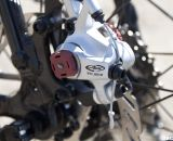 Avid's BB7 mechanical disc brakes slow things down on the Redline Conquest. Sea Otter 2012. ©Cyclocross Magazine