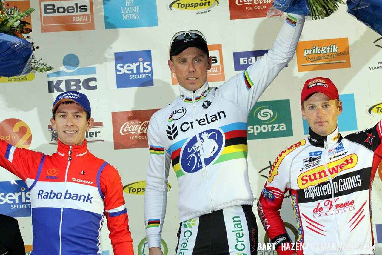 The Elite Men's podium (L-R): Lars van der Haar (Rabobank Development Team), 2nd; Sven Nys (Crelan-KDL), 1st; Kevin Pauwels (Sunweb-Napoleon Games), 3rd. © Bart Hazen