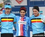 The Junior's podium (L-R): Yannick Peeters, 2nd; Adam Toupalik, 1st; Thijs Aerts, 3rd. © Bart Hazen / Cyclocross Magazine