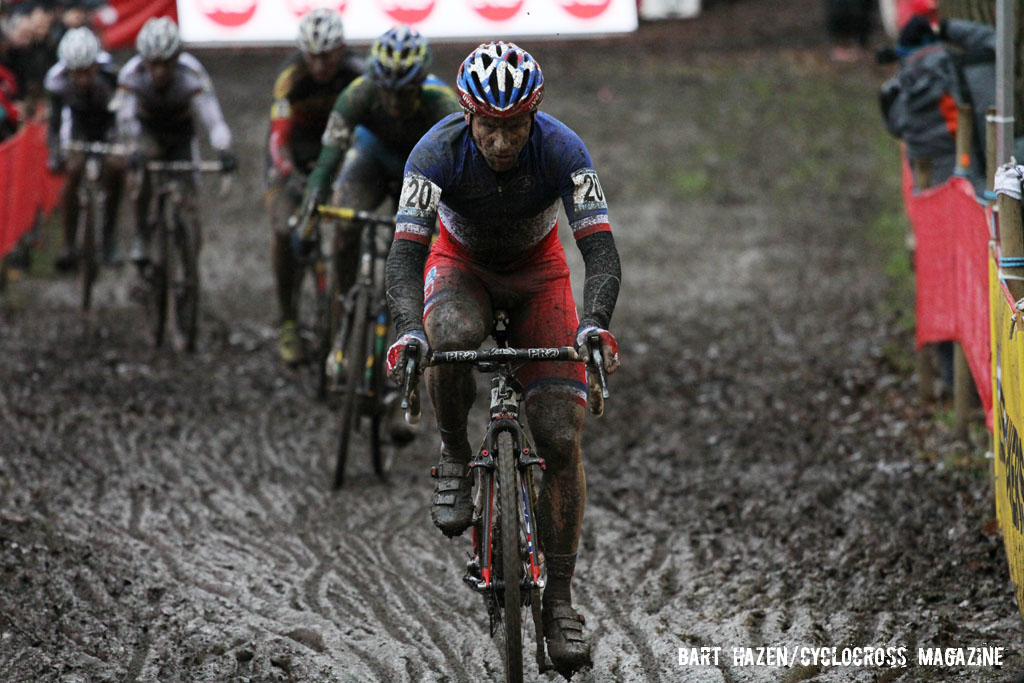 Francis Mourey taking charge of the race. © Bart Hazen / Cyclocross Magazine
