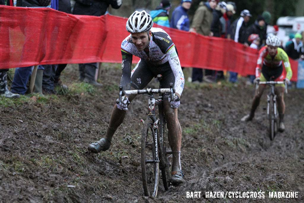 Niels Albert uses his foot to push through the technical section. © Bart Hazen / Cyclocross Magazine