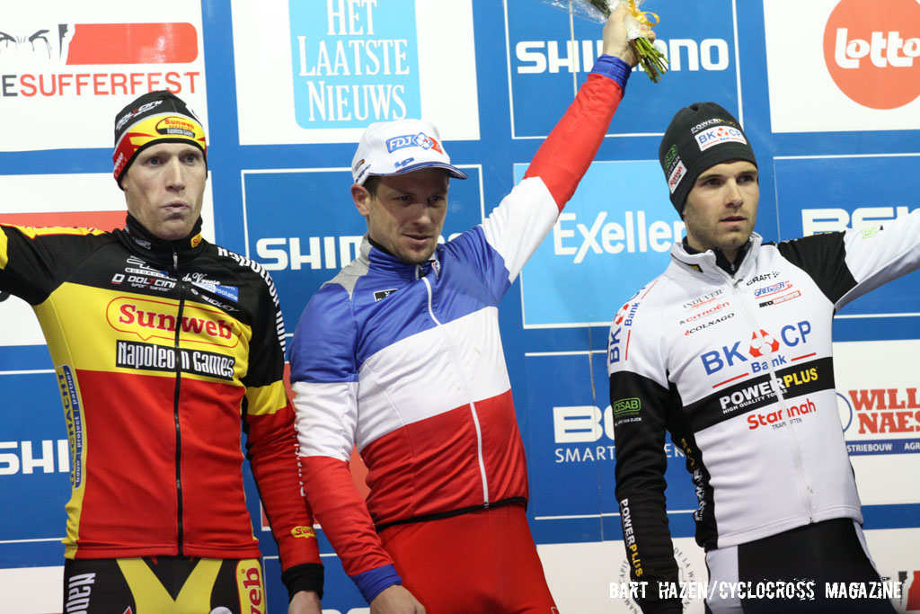 The Elite Men\'s podium (L-R): Klaas Vantornout (Sunweb-Napoleon Games), 2nd; 	Francis Mourey (FDJ.fr), 1st; Niels Albert (BKCP-Powerplus), 3rd. © Bart Hazen / Cyclocross Magazine