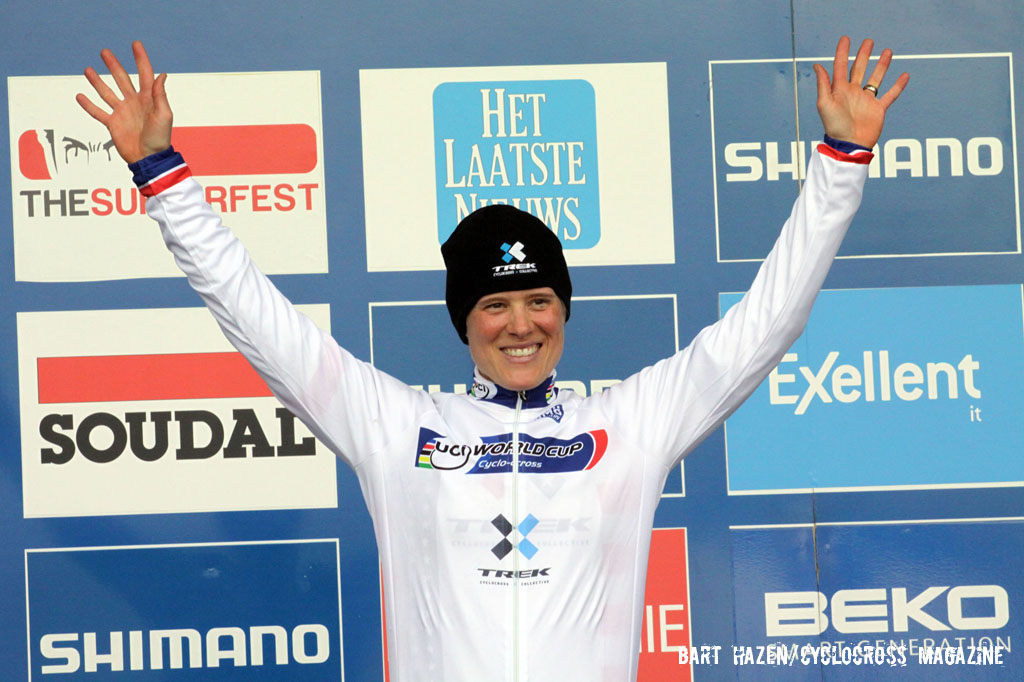 Katie Compton in the World Cup leader\'s jersey. © Bart Hazen / Cyclocross Magazine