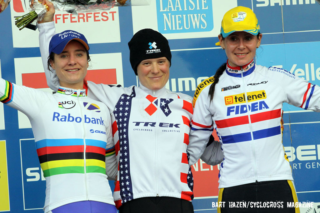 The Elite Women\'s Podium (L-R): Marianne Vos (Rabobank-Giant), 2nd; Katie Compton (Trek Cyclocross Collective), 1st; Nikki Harris (Telenet-Fidea), 3rd. © Bart Hazen / Cyclocross Magazine