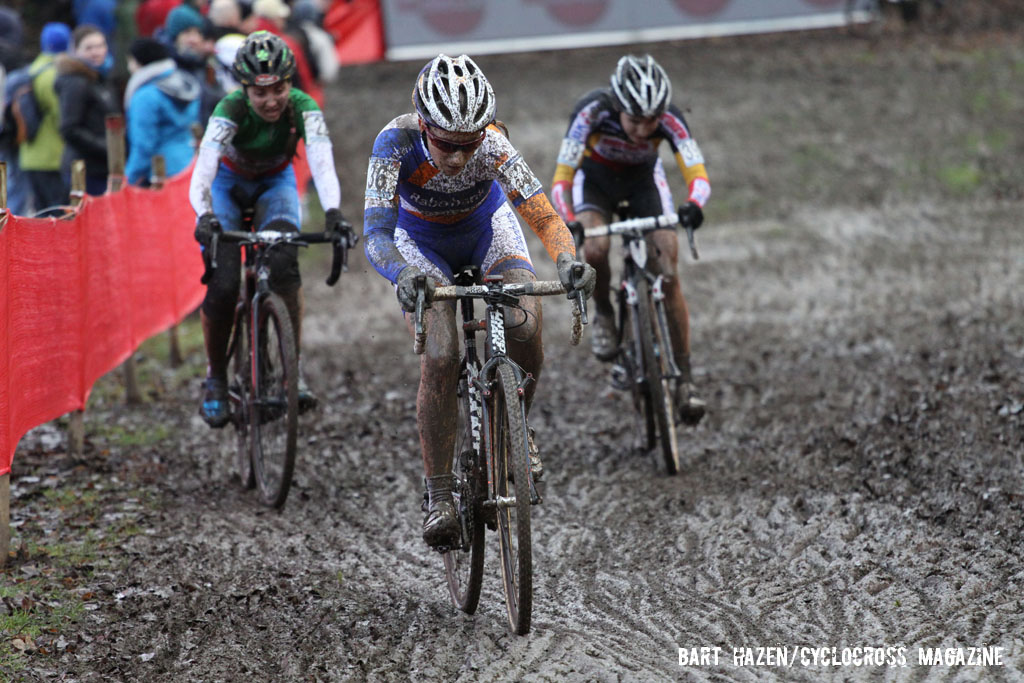 Pauline Ferrand Prevot leads Eva Lechner and Sanne Cant. © Bart Hazen / Cyclocross Magazine