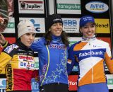 The Elite Women's podium (L-R): Sanne Cant (Enertherm-BKCP), 2nd; Helen Wyman (Kona Factory Team), 1st; Sabrina Stultiens, (Rabobank Liv/Giant), 3rd. © Thomas van Bracht