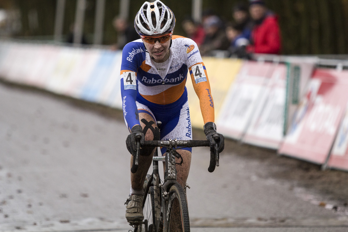 Sabrina Stultens, happy with her third place finish at Gieten. © Thomas van Bracht