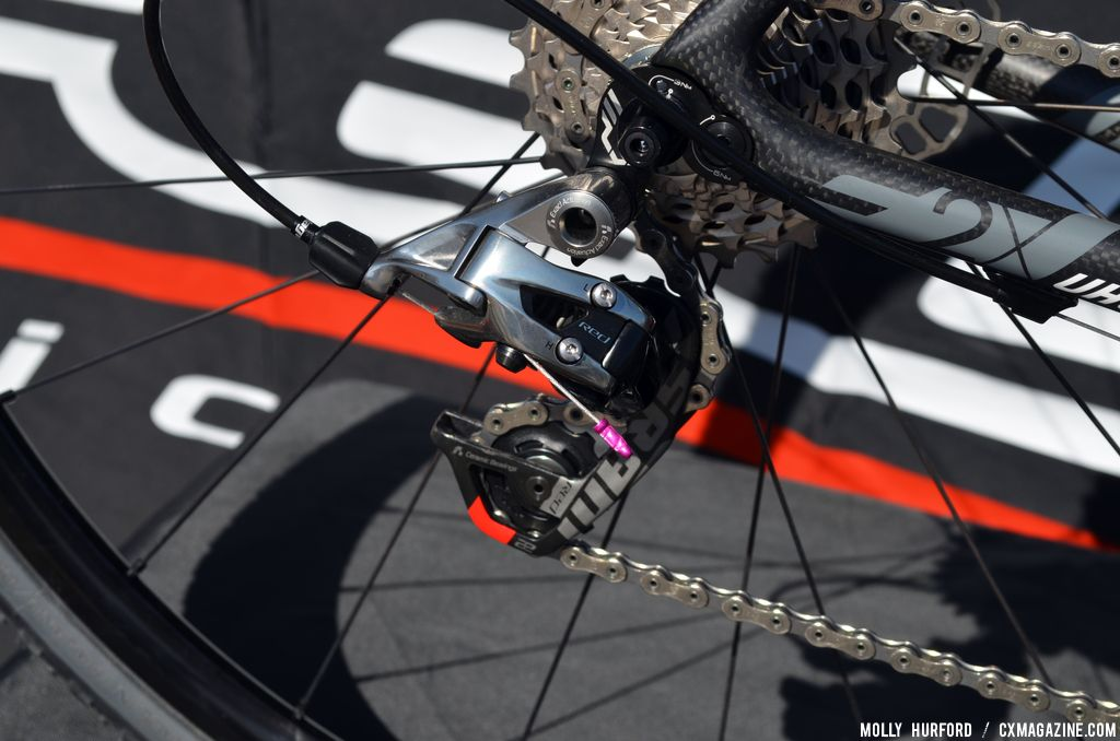 Even the crimps are color coordinated 2014 Felt F2X at Sea Otter 2013. © Cyclocross Magazine