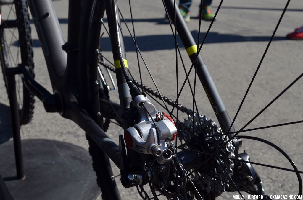 Disc brakes were the norm for Felt\'s new \'cross options. 014 Felt F5X at Sea Otter 2013. © Cyclocross Magazine