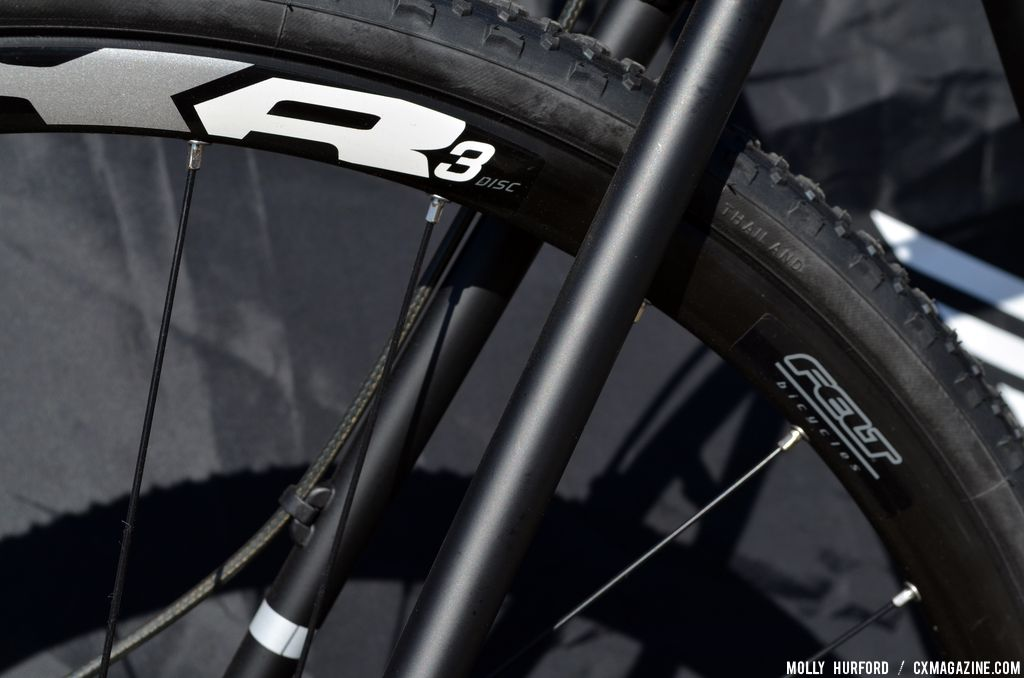 Felt\'s in-house CxR3 disc wheelset 2014 Felt F65X at Sea Otter 2013. © Cyclocross Magazine