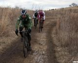 JT Fountain leads Bradford and Kapius into the barriers. © Cyclocross Magazine