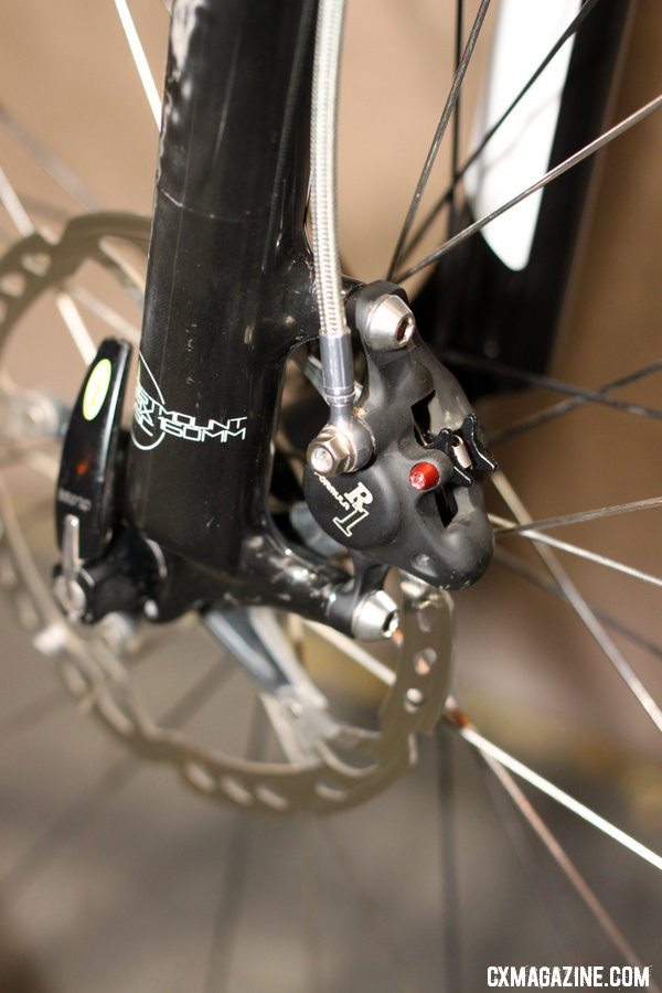 Summit Lab\'s 324 Brake Adapter lets cable-pull brake levers actuate a Formula R1 disc caliper. © Cylcocross Magazine