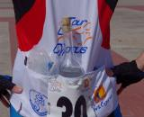"Vardaros tries an alternative hydration strategy during her ""training."" ? Jonas Bruffaerts"