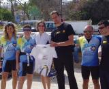 The team of Andy, the race organizer. They promote bikes as transportation in Cyprus. ? Jonas Bruffaerts