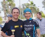 Vardaros with her new friend Ioannou Marios who finished as highest ranked Cyprus rider. ? Jonas Bruffaerts