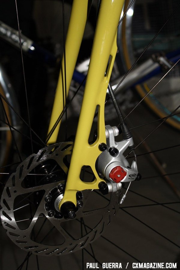 A close-up of the Steve Potts disc brake fork. © Paul Guerra