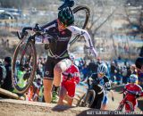 Kaitlin Antonneau rides a nasty off-camber portion of the 2014 USAC Cyclocross National Championships.  Antonneau finished 7th.