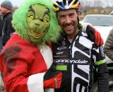 John Meehan, race director and Grinch, with winner Tim Johnson (Cyclocrossworld.com/Cannondale) after the Day 3 race.  © Amy Dykema