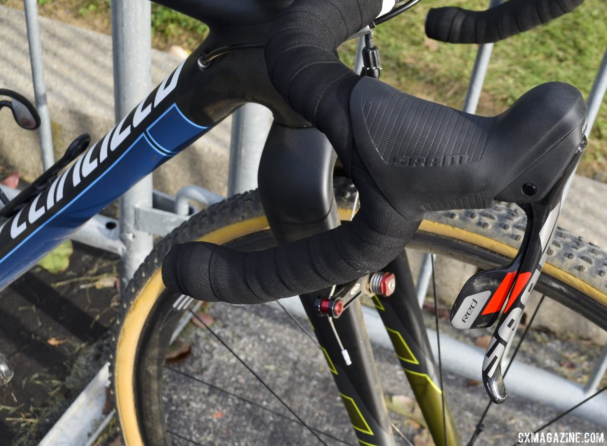 SRAM Red 10-speed DoubleTap shifters on Arley Kemmerer\'s Specialized Crux Pro cyclocross bike. © Cyclocross Magazine