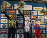 Nys, Albert and Stybar on the podium in Gavere. © Dan Seaton