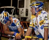 Bart Wellens and Bart Aernouts discuss the night's hot, humid racing. © Cyclocross Magazine