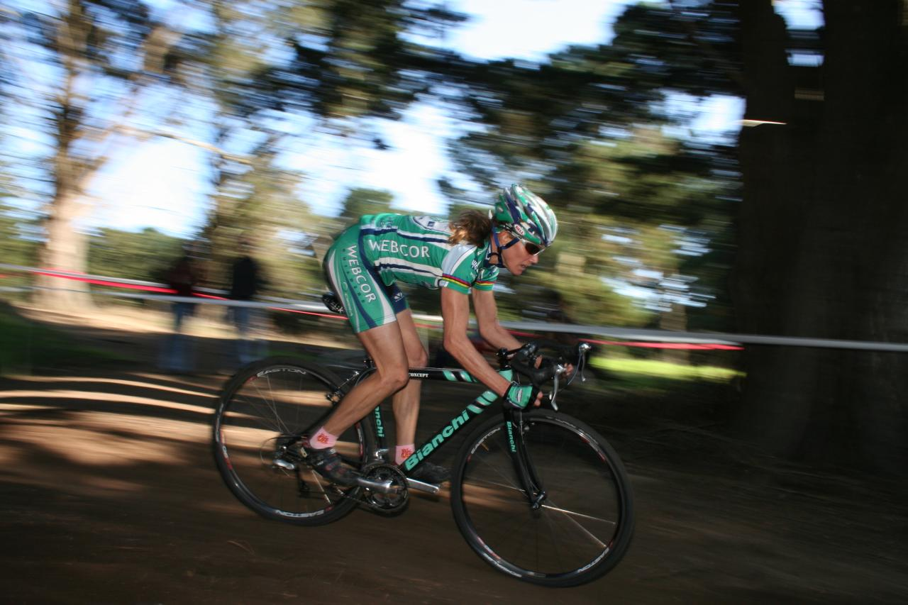 Karen Brems (Webcor) raced to fourth place after winning race #1, and should keep the leader's jersey. (photo from 2008 Golden Gate Park).  ?Cyclocross Magazine