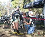Scott Chapin hit the pits for a wheel change after flatting far away and losing the lead group. ?Cyclocross Magazine