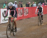 Devon Haskel (Bike Station Aptos) held off Kerry Barnholt (Scott / Ritchey) to win the women's race. © Cyclocross Magazine