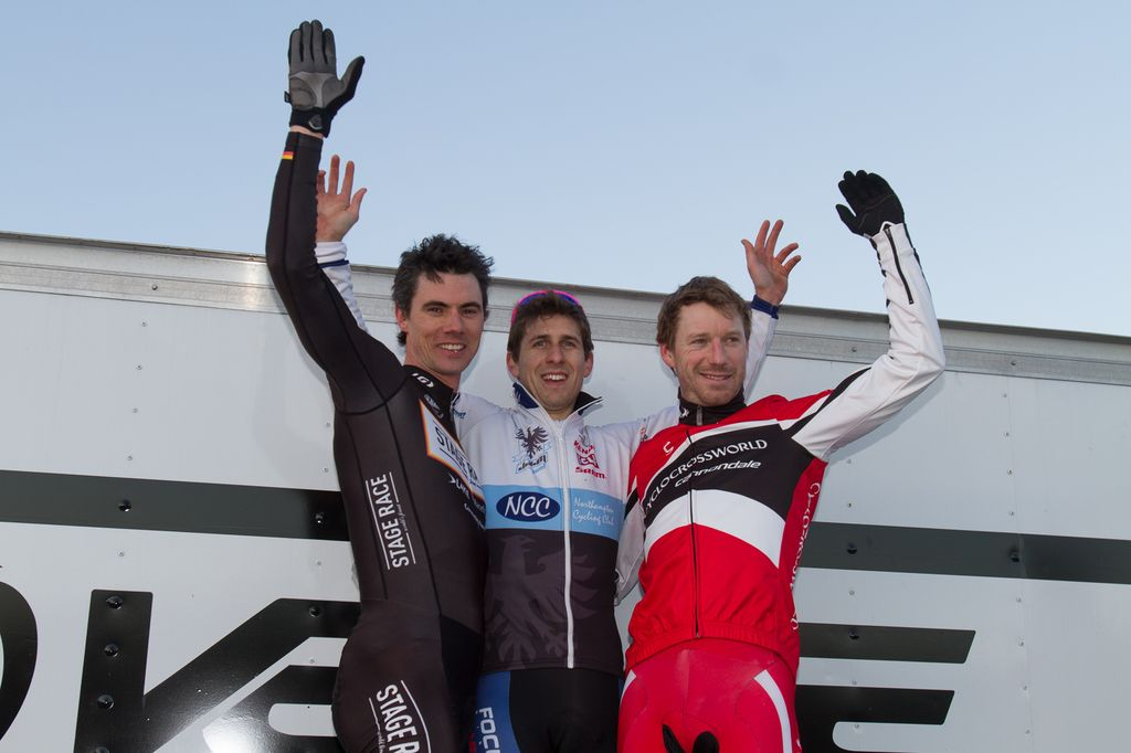 The Elite Men\'s podium: Milne, Garrigan, Durrin. © Todd Prekaski